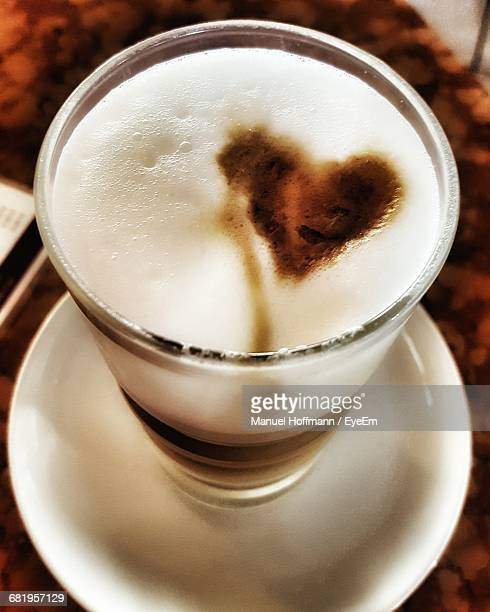 High Angle View Of Heart Shape On Coffee