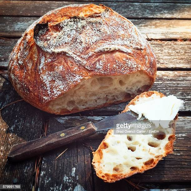 High Angle View Of Homemade Bread On Table