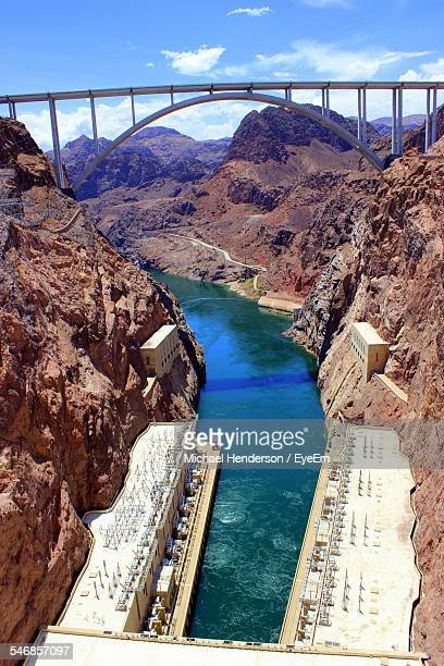 High Angle View Of Hoover Dam Against Sky