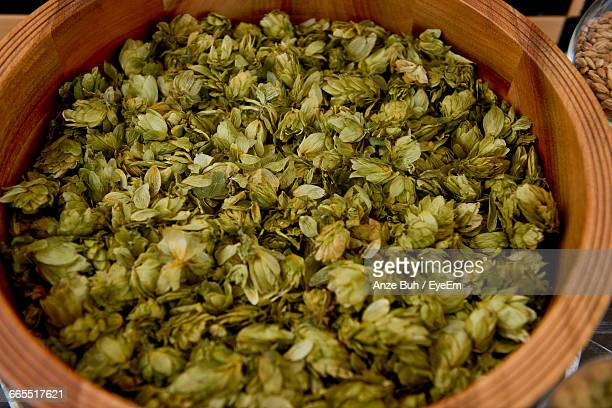 High Angle View Of Hops In Container