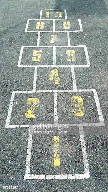 High Angle View Of Hopscotch Numbers On Street