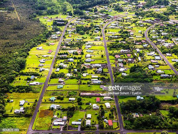 High Angle View Of Houses And Trees In Town
