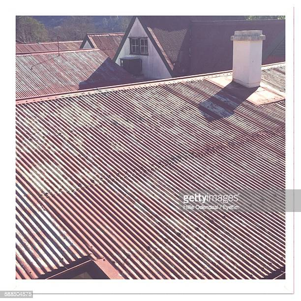 High Angle View Of Houses With Corrugated Roofs