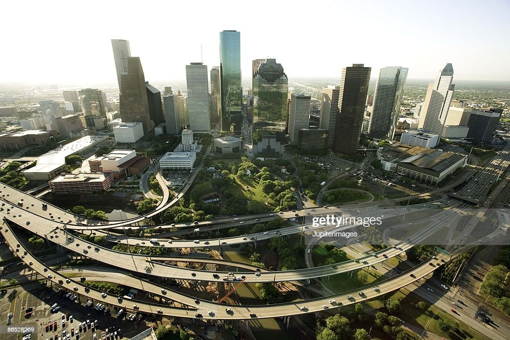 High angle view of Houston cityscape, Texas