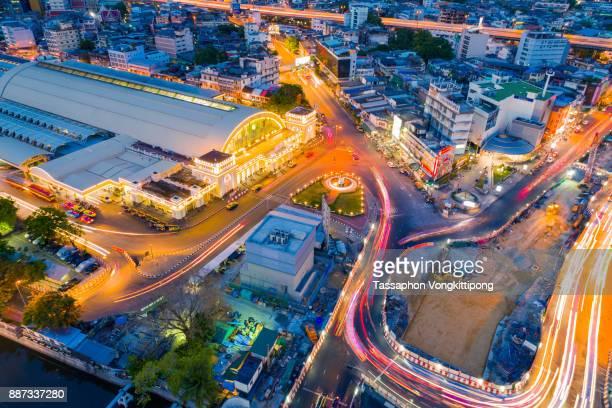 high angle view of Hualampong, Bangkok train station in Thailand