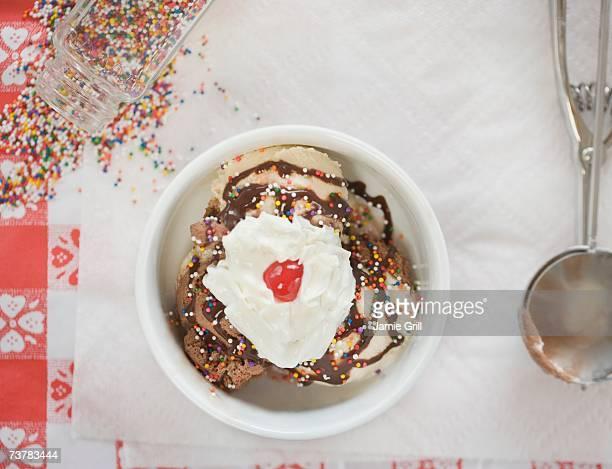 High angle view of ice cream sundae