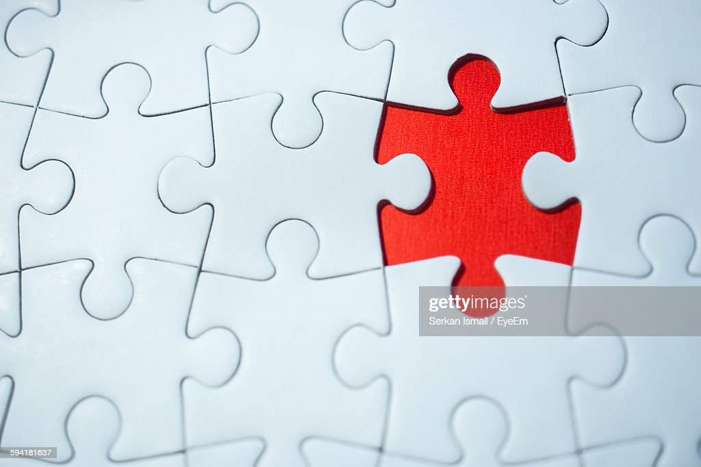 High Angle View Of Incomplete Jigsaw Puzzle