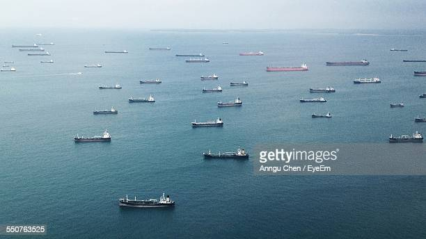 High Angle View Of Industrial Ships In Sea