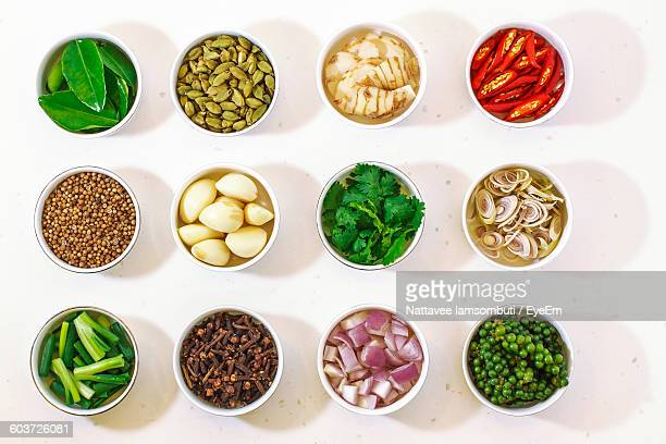 High Angle View Of Ingredients Arranged On Table