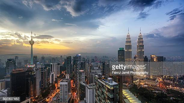 High Angle View of Kuala Lumpur City Centre at Sunset