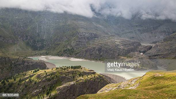 High Angle View Of Lake Amidst Majestic Mountains