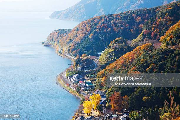 High Angle View of Lake Biwa in Autumn