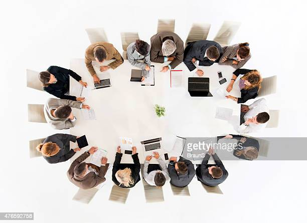 High angle view of large group of business people working.