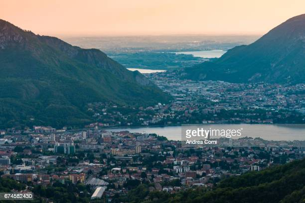 High angle view of Lecco at sunset. Morterone, Lecco, Lombardy