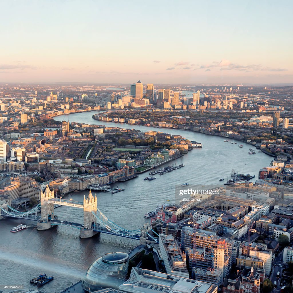 High angle view of London skyline at sunset : Stock Photo