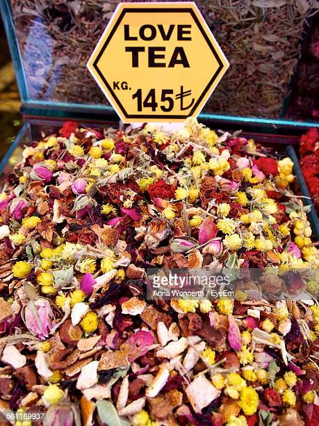 High Angle View Of Love Tea Leaves Displayed At Market
