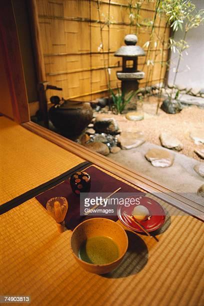High angle view of maccha tea, Kanazawa, Ishikawa prefecture, Japan