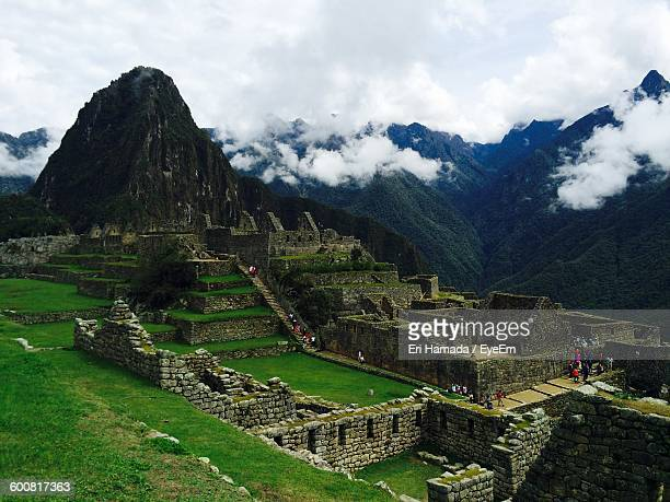 High Angle View Of Machu Picchu Against Sky