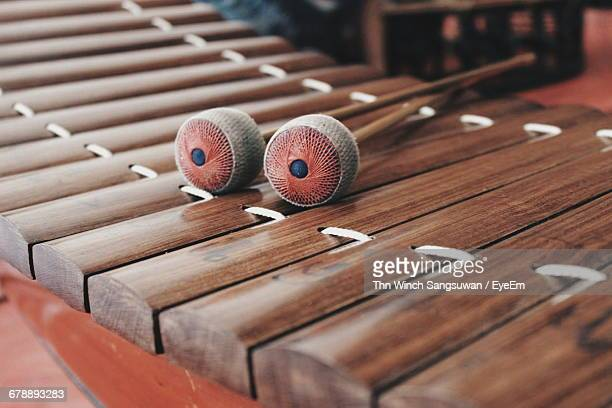 High Angle View Of Mallet On Xylophone