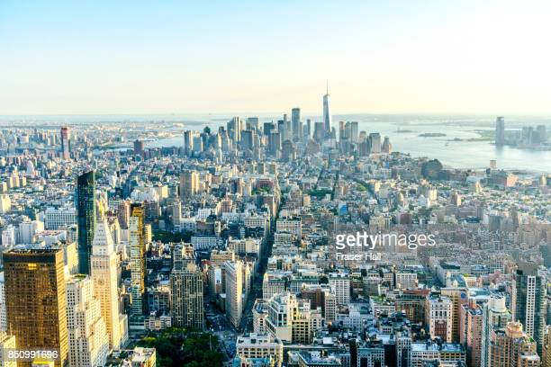 High angle view of Manhattan skyline, New York City