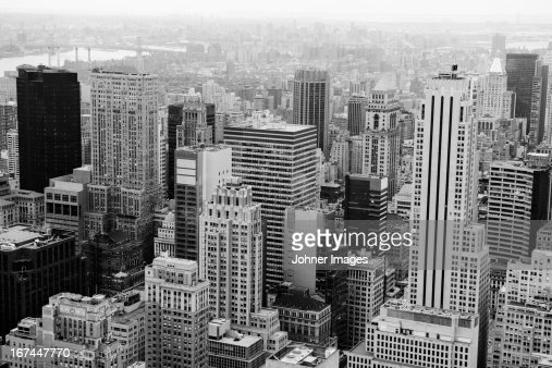 High angle view of Manhattans skyscrapers : Stock Photo