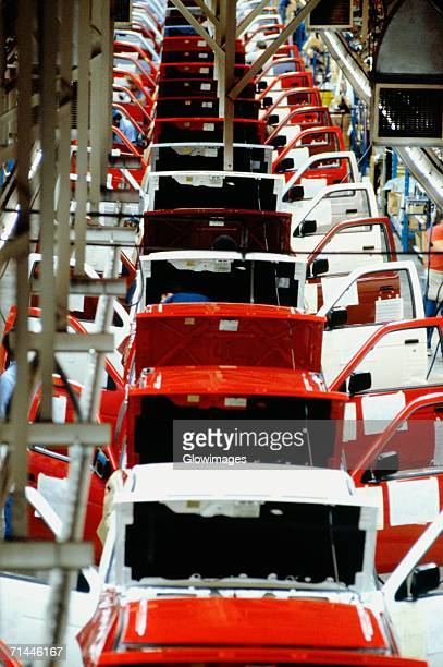 High angle view of manufactured cars on an assembly line in a factory, Smyrna, Tennessee, USA