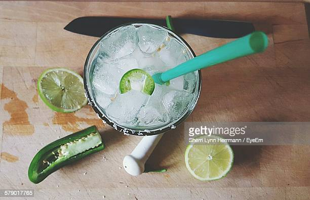 High Angle View Of Margarita Served On Table