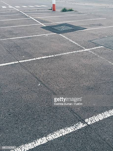 High Angle View Of Markings In Parking Lot