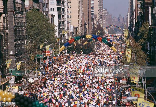 High angle view of mass of marathon runners on First Avenue, New York city. New York, USA.