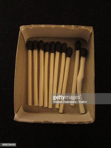 High Angle View Of Matchsticks In Box