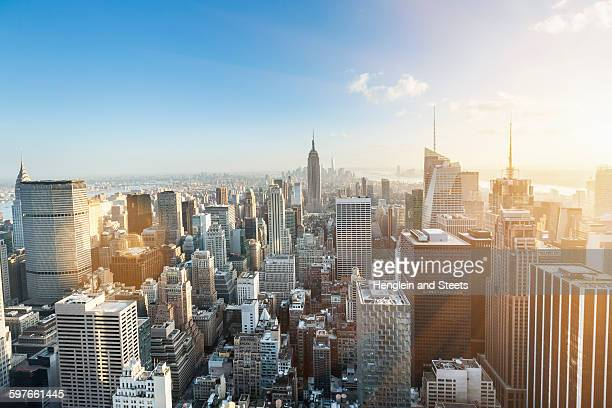 High angle view of midtown Manhattan and Empire State Building, New York, USA