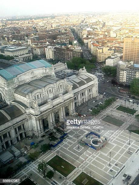 High Angle View Of Milano Centrale Railway Station And City
