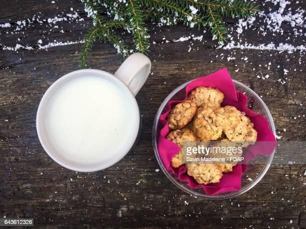 High angle view of milk