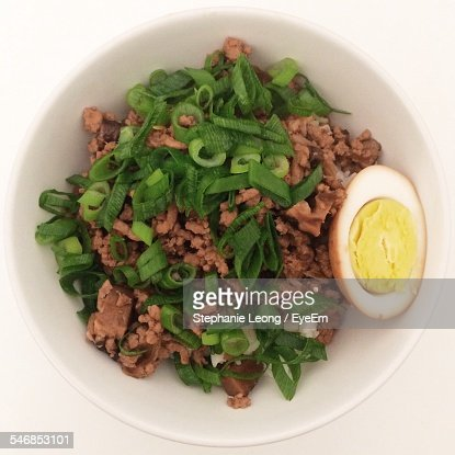 High Angle View Of Minced Pork With Egg In Bowl