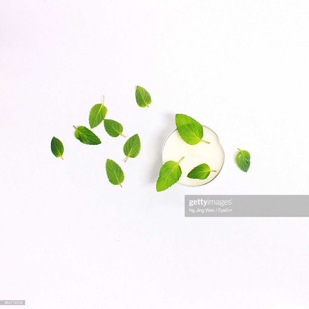 High Angle View Of Mint Leaves With Votive Candle