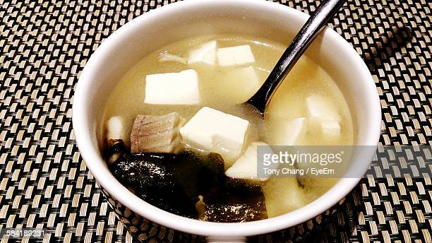 High Angle View Of Miso Soup In Bowl On Table