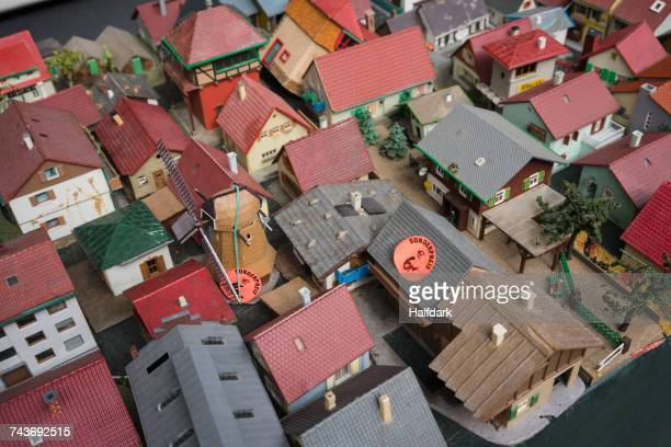 High angle view of model houses for sale
