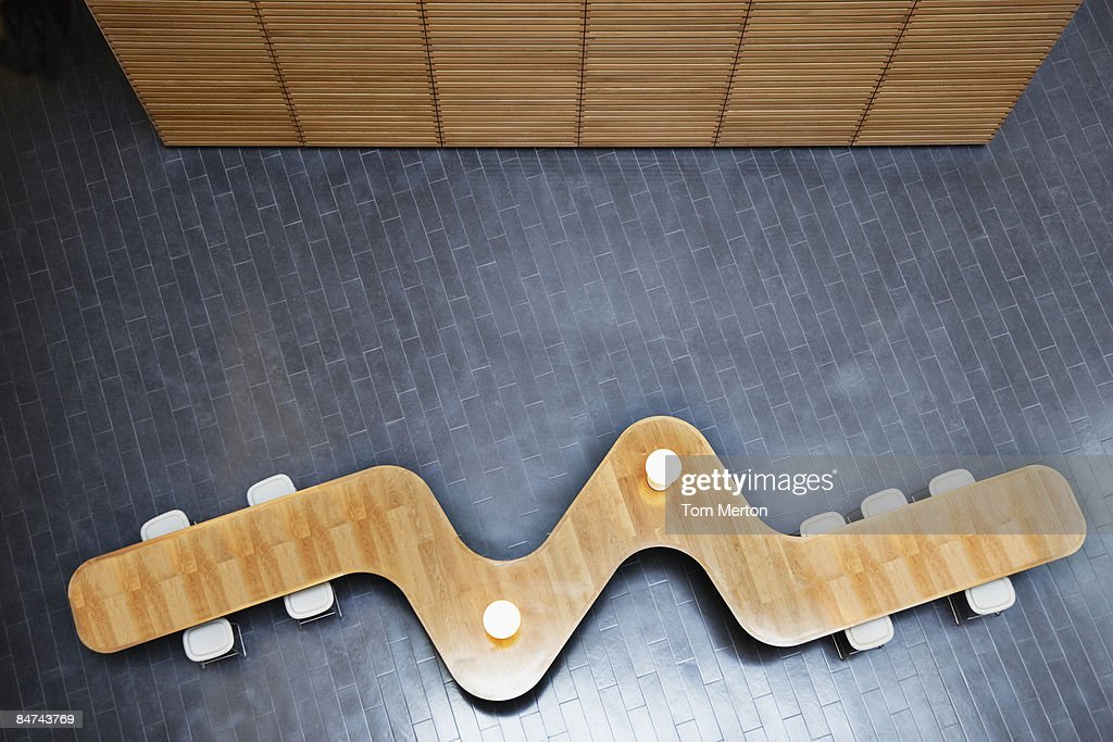 High angle view of modern table in office lobby : Stock Photo