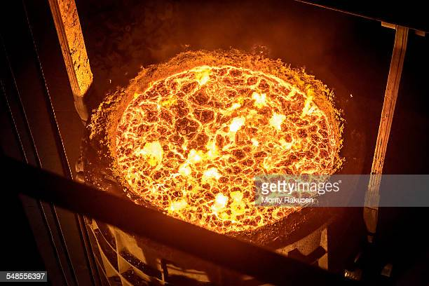 High angle view of molten steel flask in steelworks