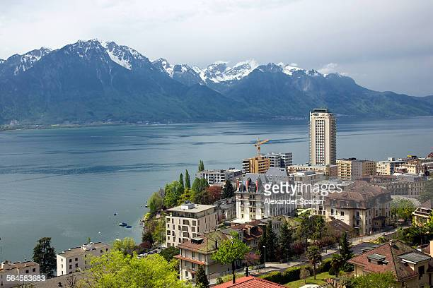 High angle view of Montreux, Switzerland