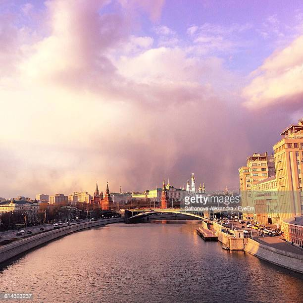 High Angle View Of Moskva River Amidst Buildings At Sunset