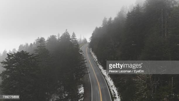 High Angle View Of Mountain Road Amidst Trees During Foggy Weather