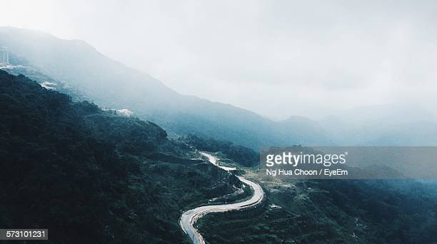 High Angle View Of Mountain Road During Foggy Weather