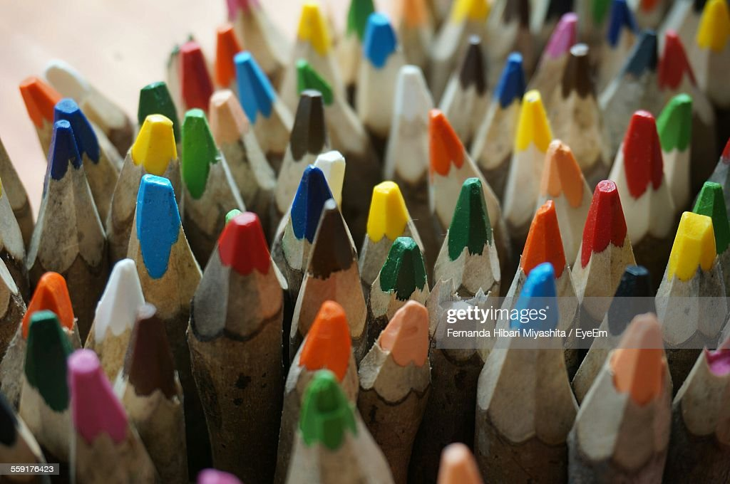 High Angle View Of Multi Color Pencils