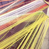 High Angle View Of Multi Colored Threads Outdoors