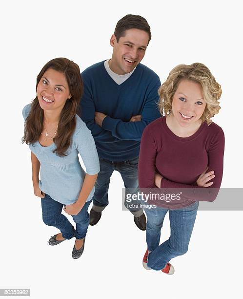 High angle view of multi-ethnic friends