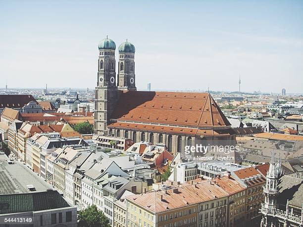 High Angle View Of Munich Frauenkirche Amidst Buildings In City