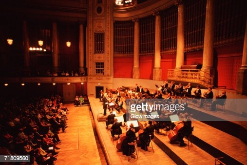 High angle view of musicians playing at a concert, Hofburg Concert Orchestra, Hofburg Palace, Vienna, Austria