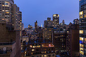 High angle view of New York city buildings at night