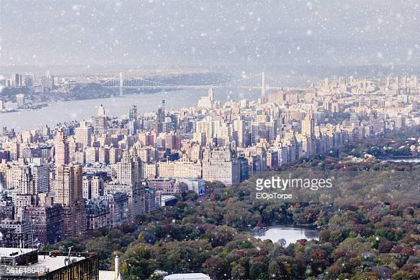 High angle view of  New York, snow, winter